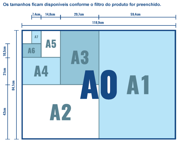 Tamanhos disponíveis no filtro de produtos