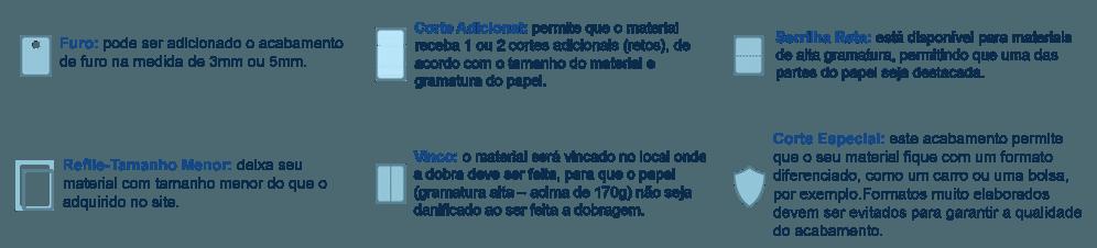 Acabamentos opcionais para Materiais metalizados