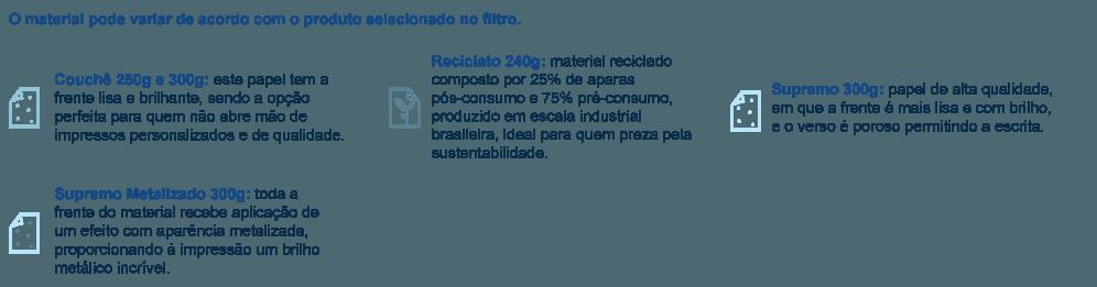 Postal em papel Couchê 250g e 300g; reciclato 240g; supremo e supremo metalizado 300g