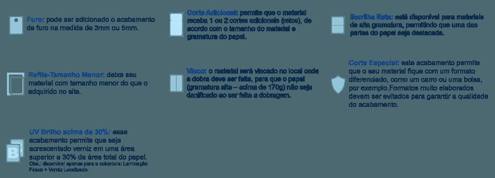 Acabamentos opcionais de furo, corte adicional, serrilha, tamanho menor, vinco, corte especial e verniz acima de 30%