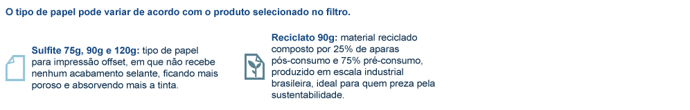 Receituário em papel sulfite 75g, 90g e 120g; e papel reciclato 90g