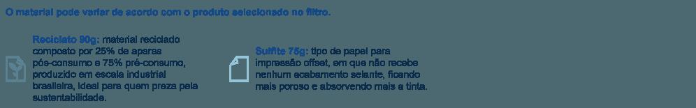 Tapete de papel Reciclato 90g ou sulfite 75g